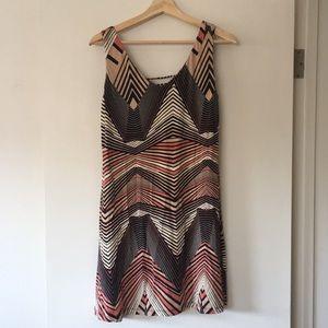 Tart black, coral and cream print sleeveless dress